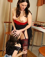 Innocent looking babe and aged gal taking out strap-on playing dirty games