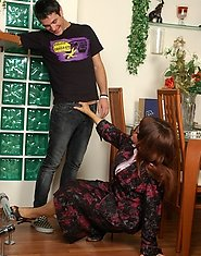 Lascivious mommy shows a guy her flat luring him into breathtaking coupling