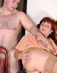 Well-stacked old housemaid approached by a hung stud eager to drill her ass