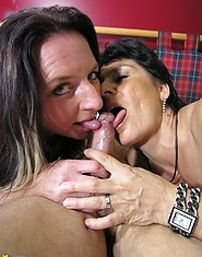 Two horny mature sluts sharing one hard cock