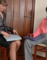 Working mom hikes up her skirt and gets her ass filled after signing papers