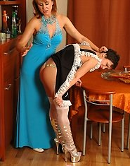 Voluptuous mature chick seducing her French maid into necking and licking