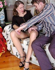 Awesome milf in barely visible tights taking the most from pantyhose sex