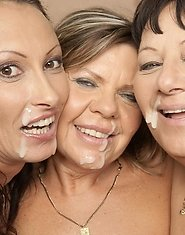 Three horny mature sluts take on one strapping lad
