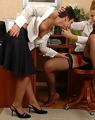 Hot secretary getting her twat filled with strap-on of sex-crazy mature gal