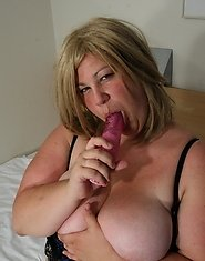 Big mature mama playing with her toys