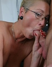 This blonde mature cunt really loves a hard cock