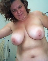 fat mature in the shower