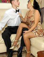 Smashing looking mature chick seducing a waiter into sizzling hot quickie