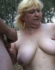 Blonde chubby mature slut having sex in the woods