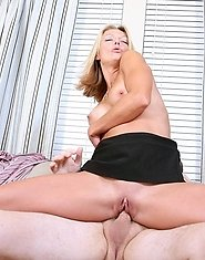 Sexy blonde milf sucks a mean cock before sliding it in her nectar filled snatch
