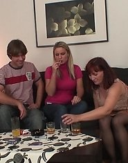 Her pretty blonde daughter has offered her husband up to the mature to make him cum