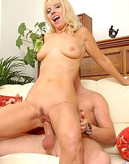 Playful milf sex kitten merilyn gently licks the balls and sucks the cock before getting pumped by it