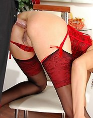 Dazzling milf clad in red indulging her anal cravings with her younger date
