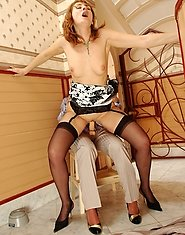 Freaky babe in male suit showing aging sappho a strap-on fucking amusement