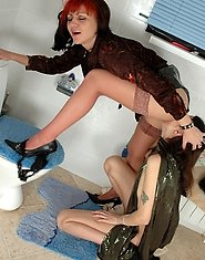 Sexy milf lured by a naked girl to lesbian licks and slits in the bathroom